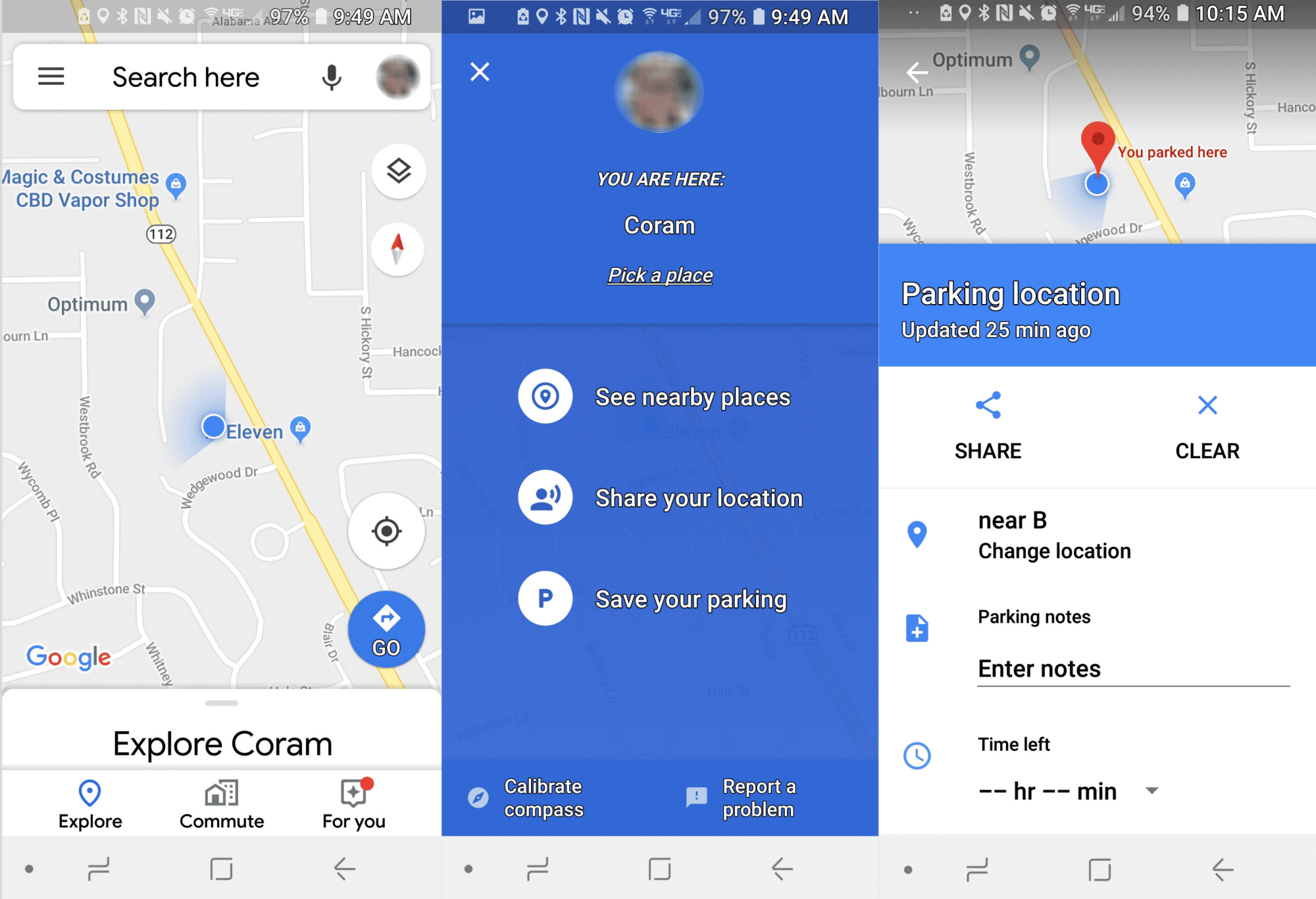 how to save parking spot on google maps